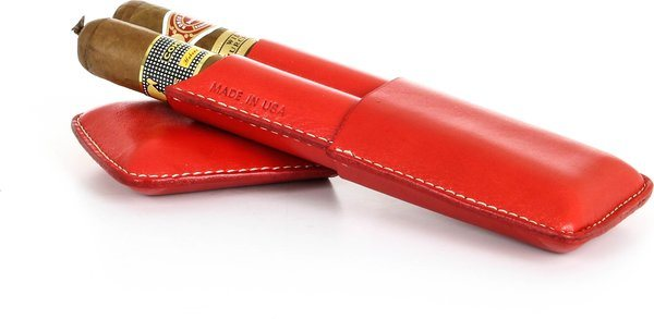 Reinhold Kühn Double pochette à cigare Smooth Top Rouge
