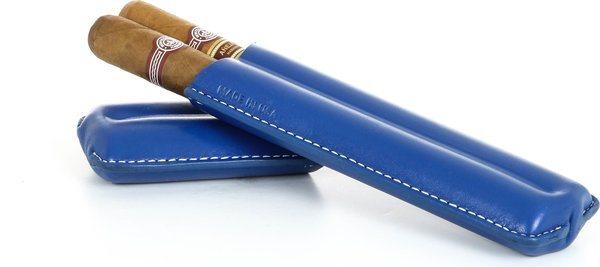 Pochette à cigares double Reinhold Kühn rabattable Top Bleu