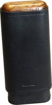 Étui à cigares adorini en cuir noir véritable  2-3 cigares avec du bois dans les parois supérieures.