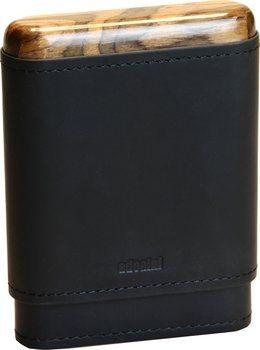 Étui à cigares adorini en cuir véritable noir 3-5 cigares en bois haut et en bas