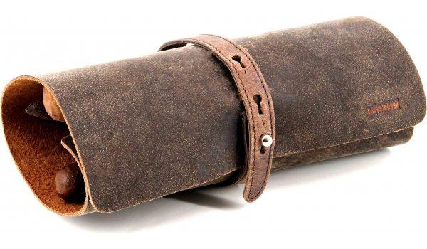 Adorini Cigar Roll En Cuir Véritable Marron