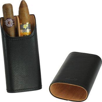 Étui à cigares Adorini en cuir véritable noir 2-3 cigares